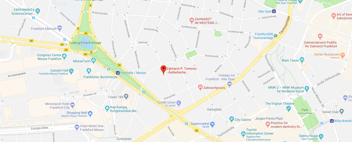 Google Maps Routenplaner Zahnarztpraxis Tomovic Frankfurt